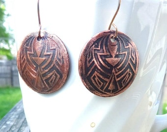 Handmade Boho Etched Round Copper Danlgle Earrings.  Antque Copper Celtic Design Earrings. Copper & Pyrite  Primitive Earrings