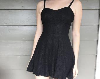 Vtg black lace skater dress S