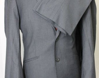 Vintage 40L Kenneth Cole Reaction Gray Mens Flat Front Suit 35x29 OCT6