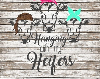 Hanging with my Heifers SVG Simple Cut Cows with Bandanas