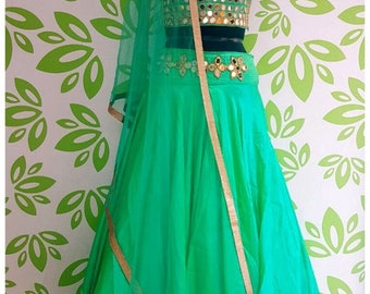 Green mirror lehenga choli