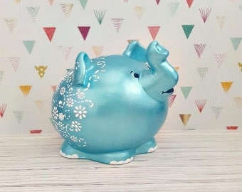Teal and White Pudgy Elephant Piggy Bank, Elephant Piggy Bank, Piggy Bank, Baby Bank, Baby Shower Gift, Elephant Nursery, Baby Elephant