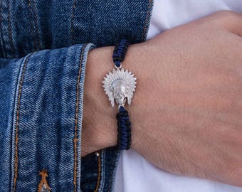 Apache Bracelet, Indian Scull Bracelet, Black Macrame Bracelet, American Indian Scull, Indian Head Bracelet, Apache Jewelry