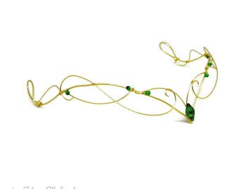 Elven circlet in Green and Gold, Cosplay jewelry, fantasy jewelry, elven crown, elven tiara, elf costume, elvish jewelry, fantasy lover gift