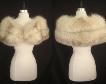 Romantic Norwegian Blue FOX FUR CAPELET White Cape Stole Wrap Shrug Bolero Coat Jacket ~ Winter Wedding ~ Bridal ~ Brown Cream ~Smaller size