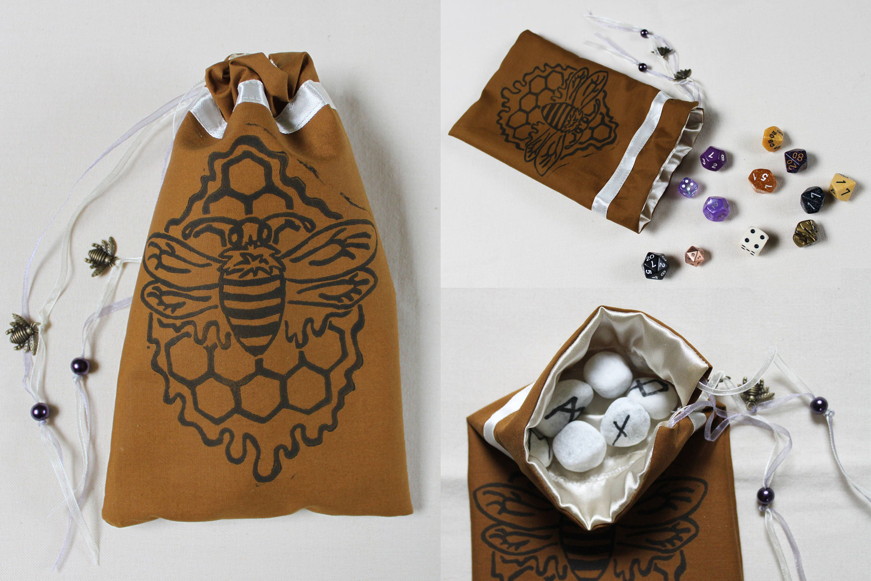 Greatest Bee and Honey Pouch: Hand Printed, Tarot Bag, Tarot Pouch, Dice  IE25