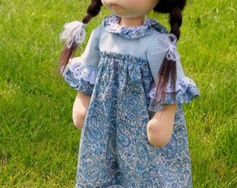 ISABELLA, 18 inch, ooak, natural fiber art, rtg, rag doll, waldorf, natural materials, child friendly