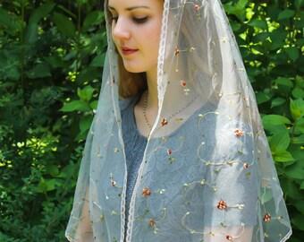 Evintage Veils~St Therese Little Flower Chapel Veil Mantilla Silver Gray  Floral Wrap Veil