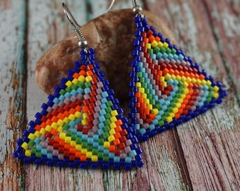 4th July Rainbow earrings Dangle earrings Triangle earrings Beaded jewelry Gift |For|Girlfriend Summer earrings Gift|For|Daughter Rainbow