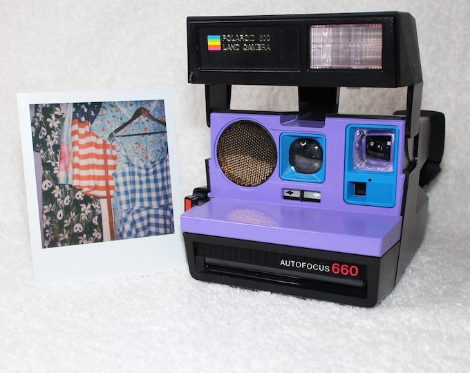 Polaroid 660 Sonar AutoFucus Upcycled Purple and Blue - Cleaned, Tested and Ready for Fun