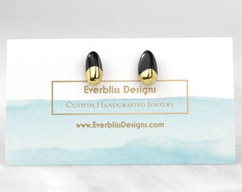 Onyx Stud Earrings/ Gold Tipped Earrings/ Black Onyx Earrings/ Onyx Post Earrings/ Black Onyx Studs