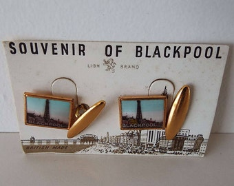 Vintage 1950's Blackpool Tower Gilt Lion Brand Cuff Links In Original Packaging New Old Stock Novelty Cufflinks