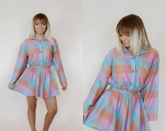 Up Cycled 1960's Checkered Dress
