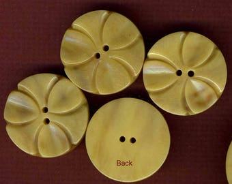Vintage Buttons (4) Celluloid Trefoil Pattern Buttons