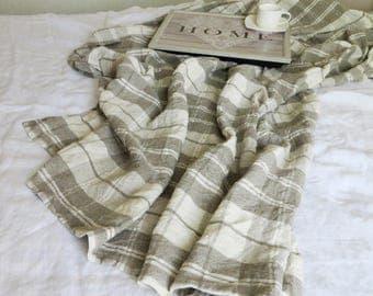 THROW BLANKET LINEN Heavy Weight (470g/m2) Linen Throw Natural Bedspread Beige Beach blanket Check Picnic Linen blanket Prewashed Blanket