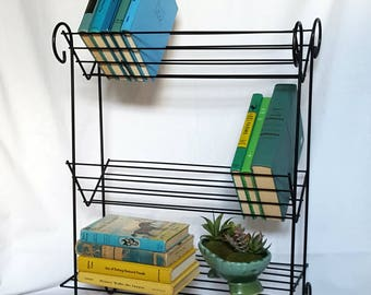 Vintage Mid Century Book Shelf, Black Metal Stand, Slanted Shelves