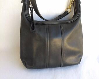 Vintage Coach Black Leather Shoulder Bag Soft Leather Double Strap