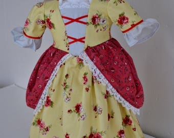 Lovely Colonial Dress and Cap for an 18 inch Doll