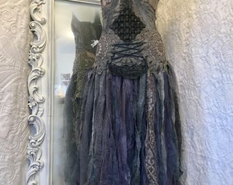Gothic wedding dress, brown and dark blue wedding dress , goth dress,Witches dress,Trashed wedding  dress , ragged wedding  dress , rawrags
