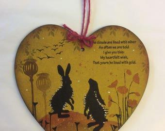 Woodland hare MDF heart.