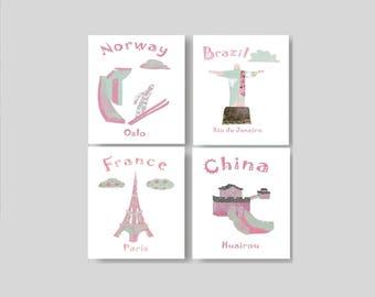 39, Nursery wall art,travel nursery,baby girl deco,Norway,Brazil,France,China,tableau chambre enfant