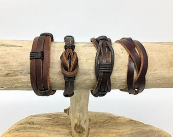 Brown Leather Bracelet, Mens Leather Bracelet Set, Gifts under 20, Brown Leather Braclet Set, Womens Leather Bracelet 4PC8