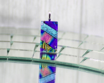 Small Fused Glass Pendant-Elegant Dichroic Glass Necklace-Cobalt Blue and Rainbow Rectangular Shaped Pendant-Dichroic Glass Jewelry. JBT527