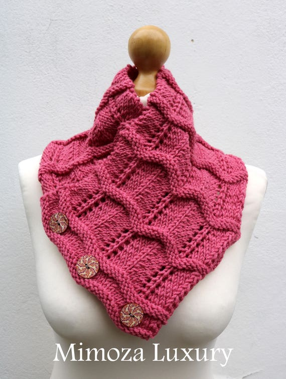 Baroque Rose Merino Wool Hand Knitted Scarf, Knit scarf wrap rose Scarf, Shawl, Wrap, Neck warmer, knit scarf, rose pink women's knit scarf