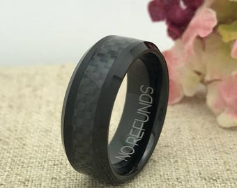 8mm Tungsten Wedding Ring, Brushed Finish Comfort Fit Tungsten Ring Band, Mens Wedding Band, FREE ENGRAVING