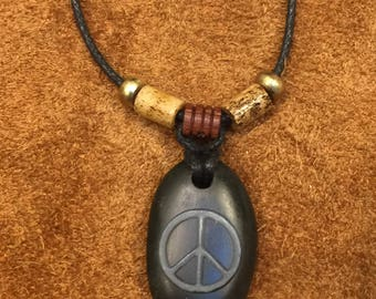 Carved Peace Sign Stone Pendant
