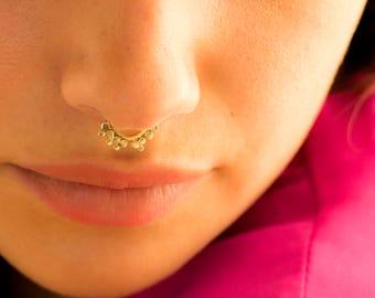Unique Nose Ring, Septum Ring, Indian Nose Cuff, Tribal Piercing, Asymmetrical Nose Ring, Tragus Piercing, Helix Hoop, Cartilage Earring