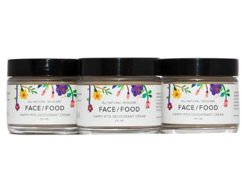 Natural Deodorant Cream/Happy Pits/Baking Soda Free Deodorant/Organic Deodorant/Coconut Oil Deodorant/Vegan Deodorant/Unisex Deodorant