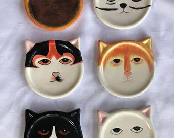 Ceramic Cat Plates/Coasters set of 6