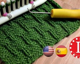 Looms Knitting PATTERNS Caterpillar Stitch with Video Tutorial by Loomahat Includes Spanish - Patrón de Puntada | Tejer a Telar en Español