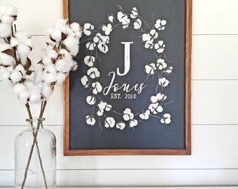 Cotton Stem Wreath- Initial, name & established date  {HOME DECOR, FARMHOUSE}