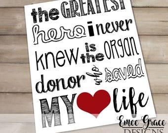 Organ Donor Subway Art Print - Transplant Gift - Digital Download - Heart Donor Recipient