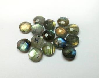 60% OFF - Genuine Labradorite Faceted Gemstone Round Cut Gemstone 10x10 mm / 49.20 Cts Loose Labradorite 15 Pieces Lot  (T-174)
