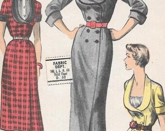 Vintage 1950s Advance Sewing Pattern 5605 - Misses' Dress size 16 bust 34 hip 37 uncut FF
