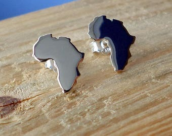 Africa Earrings-Africa Studs-Africa Continent Silver Earrings-Africa Sterling Earrings-Africa Jewelry-Silver Studs-Valentines Day Gift