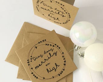 Set of 10 Christmas Cards Christmas Cards Pack Holiday Cards Kraft Recycled Festive Cards