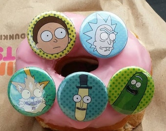 "Rick and Morty, Pickle Rick, Mr. Poopybutthole, Squanchy, 5, Pin, button, set 1.25"","