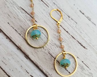 Gold Circle Hoop Dangle Earrings with 24k Gold Plated Zircon Crystals with Turquoise Beaded Accent