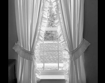 Priscilla Curtains 200 Wide X 84 Long Bright White W Double Ruffle Valance