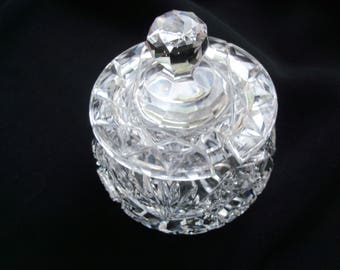 Antique Clear Cut Glass Covered Jelly Condiment Jar – Geometric, Fan and Star Pattern