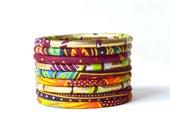 Bracelets en tissu wax, lot de 9 joncs en wax imprimés Africain assortis, bijoux Africain, bracelet ethnique, bracelet fin, bracelet ankara