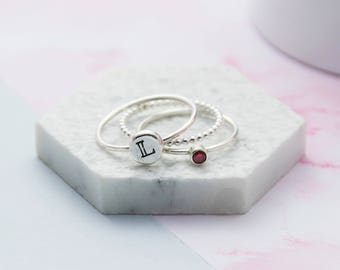 Birthstone and Pebble Ring Set | Personalised Handstamped Sterling Silver Pebble Stacking Ring | Handmade Sterling Silver Initial Ring Set