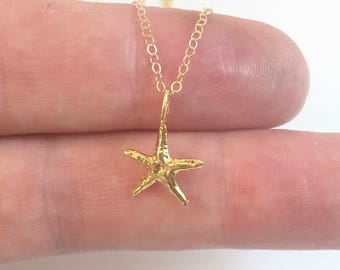 Tiny Gold Starfish Necklace, Gold Starfish, Dainty Star Fish Necklace, Beach Necklace, Starfish Lover Gift, Nautical Jewelry, Summer