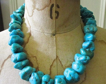 Vintage Chunky Turquoise Necklace/ Silver Beads