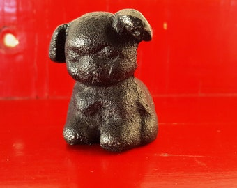 Mini Iron Puppy~Iron Dog~Darling Dog Figurine made of Cast Iron~Shadow Box Item~Vintage Metal Dog Collectible~Child Gift~JewelsandMetals.