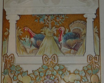 Turkeys in Harvest Vignette Antique Thanksgiving Postcard